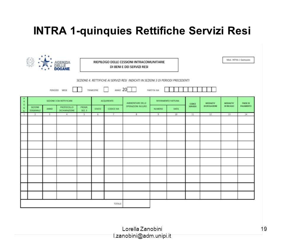 INTRA 1-quinquies Rettifiche Servizi Resi Lorella Zanobini l.zanobini@adm.unipi.it 19