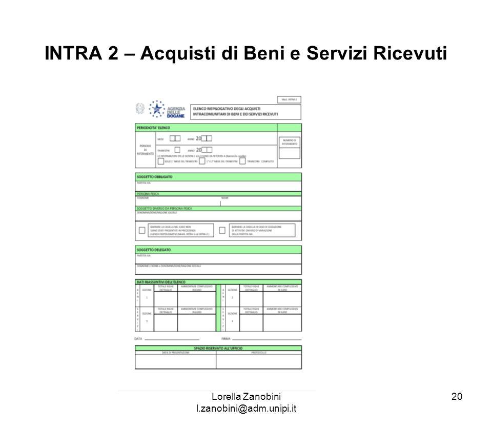 INTRA 2 – Acquisti di Beni e Servizi Ricevuti Lorella Zanobini l.zanobini@adm.unipi.it 20