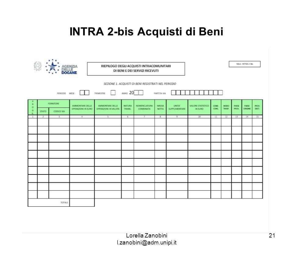 INTRA 2-bis Acquisti di Beni Lorella Zanobini l.zanobini@adm.unipi.it 21
