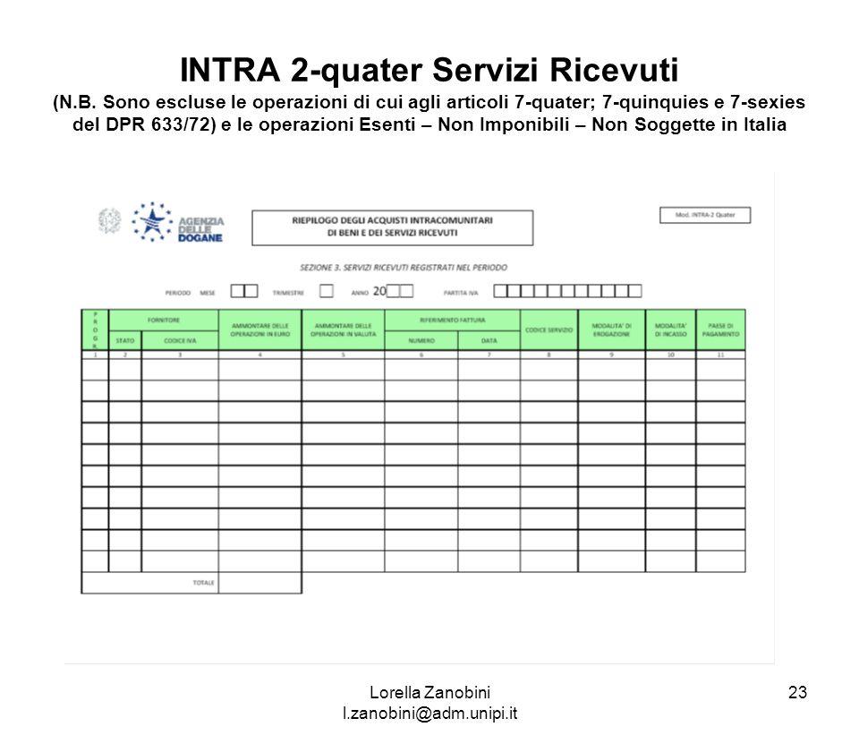 INTRA 2-quater Servizi Ricevuti (N.B. Sono escluse le operazioni di cui agli articoli 7-quater; 7-quinquies e 7-sexies del DPR 633/72) e le operazioni