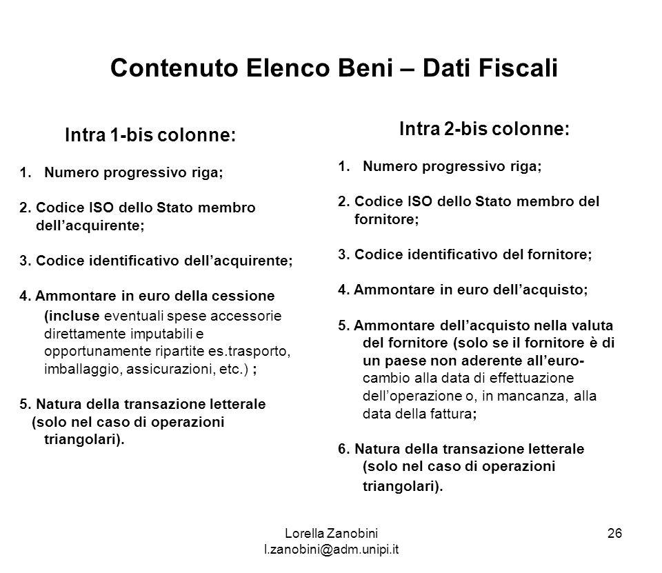 Contenuto Elenco Beni – Dati Fiscali Intra 1-bis colonne: 1.Numero progressivo riga; 2. Codice ISO dello Stato membro dellacquirente; 3. Codice identi