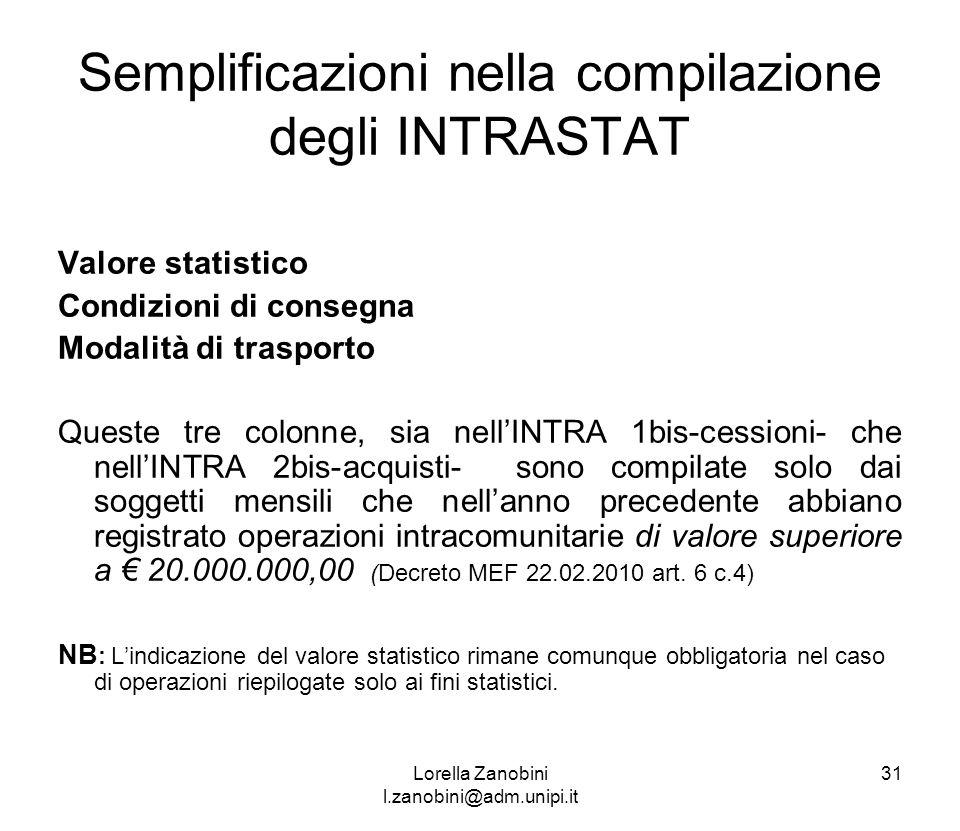 Semplificazioni nella compilazione degli INTRASTAT Valore statistico Condizioni di consegna Modalità di trasporto Queste tre colonne, sia nellINTRA 1b