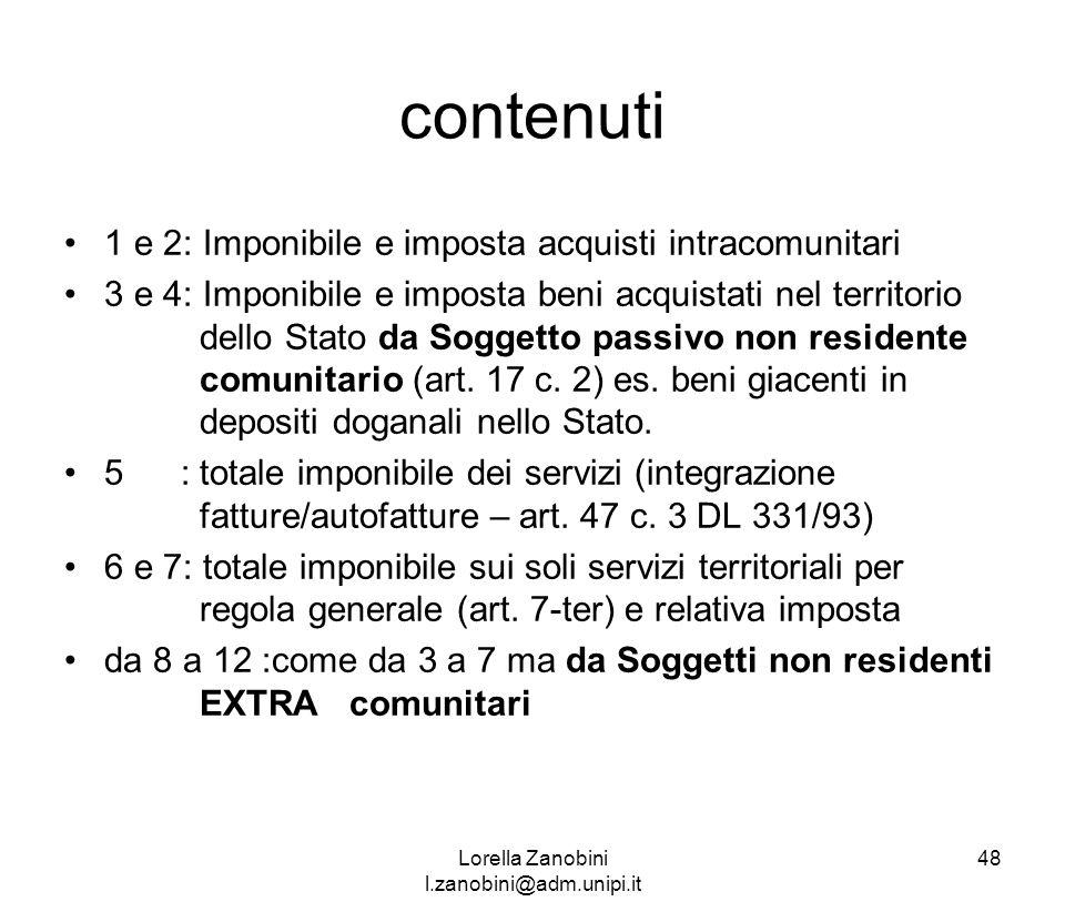 contenuti 1 e 2: Imponibile e imposta acquisti intracomunitari 3 e 4: Imponibile e imposta beni acquistati nel territorio dello Stato da Soggetto pass