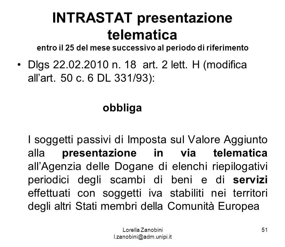INTRASTAT presentazione telematica entro il 25 del mese successivo al periodo di riferimento Dlgs 22.02.2010 n. 18 art. 2 lett. H (modifica allart. 50