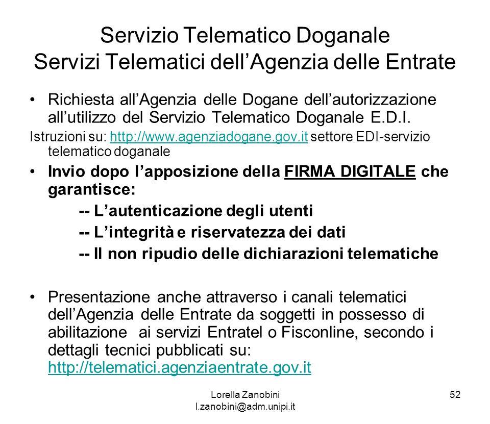 Servizio Telematico Doganale Servizi Telematici dellAgenzia delle Entrate Richiesta allAgenzia delle Dogane dellautorizzazione allutilizzo del Servizi