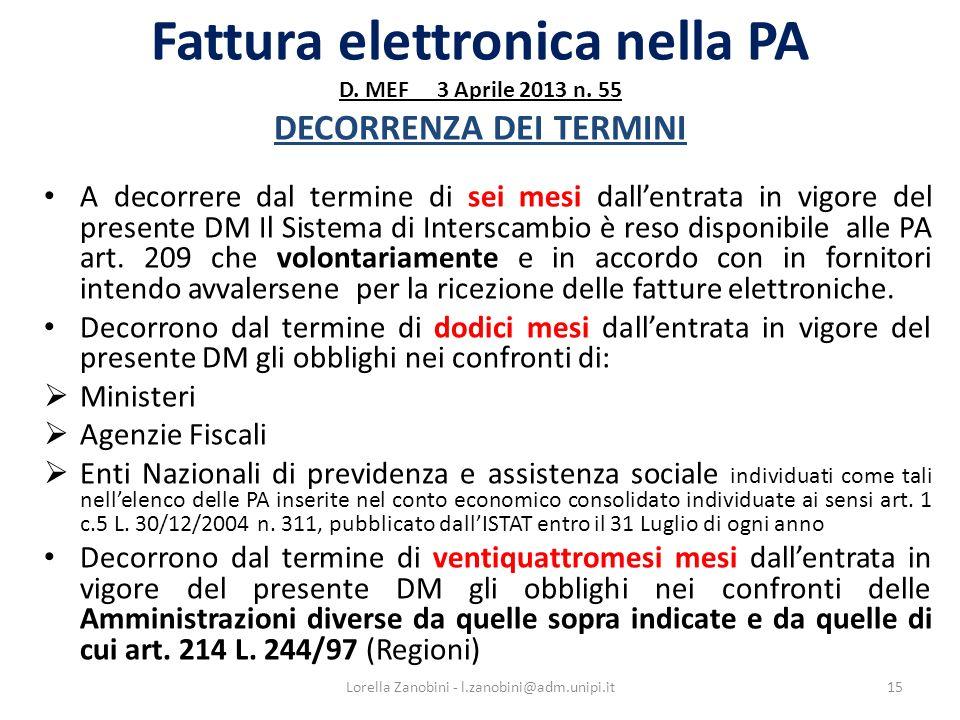 Fattura elettronica nella PA D. MEF 3 Aprile 2013 n. 55 DECORRENZA DEI TERMINI A decorrere dal termine di sei mesi dallentrata in vigore del presente