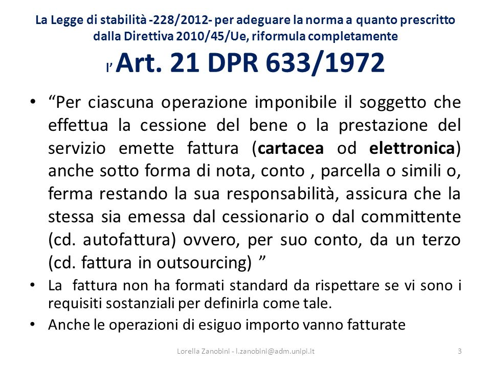 La fattura differita (Art.21, comma 4, lett.