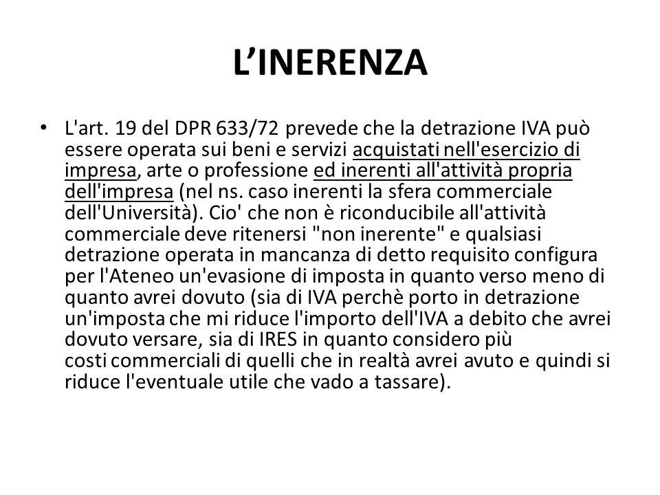 LINERENZA L'art. 19 del DPR 633/72 prevede che la detrazione IVA può essere operata sui beni e servizi acquistati nell'esercizio di impresa, arte o pr