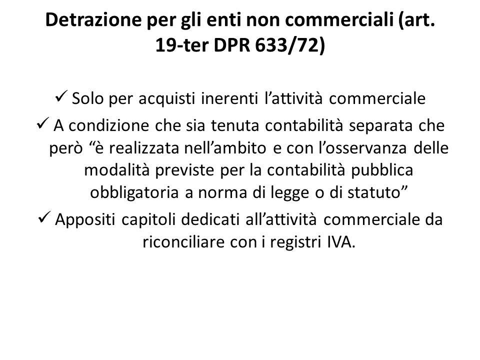 Detrazione per gli enti non commerciali (art. 19-ter DPR 633/72) Solo per acquisti inerenti lattività commerciale A condizione che sia tenuta contabil