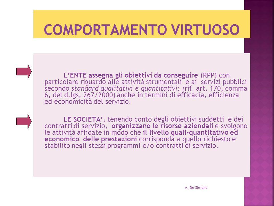 COMPORTAMENTO VIRTUOSO LENTE assegna gli obiettivi da conseguire (RPP) con particolare riguardo alle attività strumentali e ai servizi pubblici second