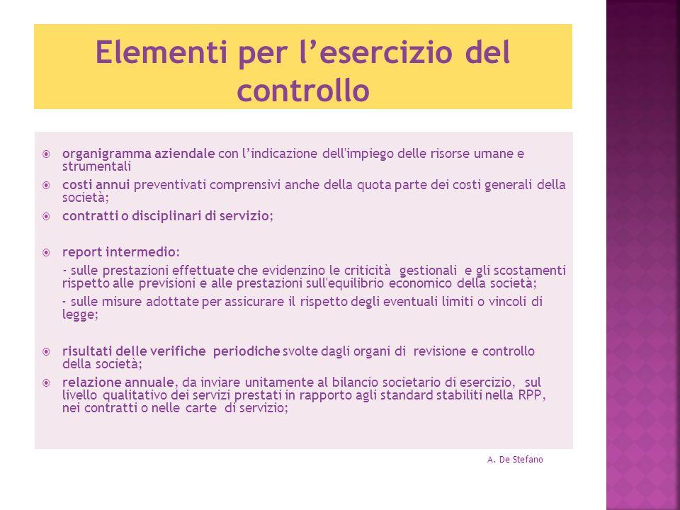 Elementi per lesercizio del controllo organigramma aziendale con lindicazione dell'impiego delle risorse umane e strumentali costi annui preventivati