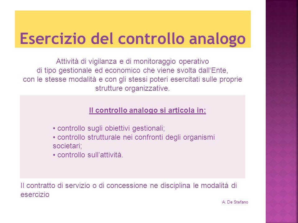 Esercizio del controllo analogo A. De Stefano Attività di vigilanza e di monitoraggio operativo di tipo gestionale ed economico che viene svolta dallE