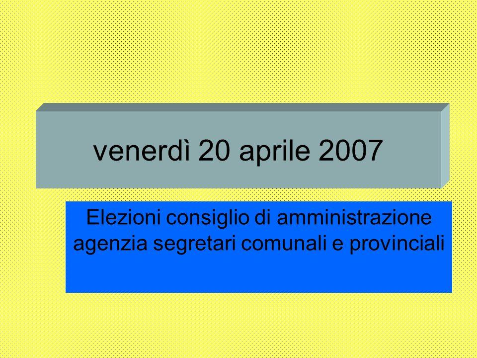 venerdì 20 aprile 2007 Elezioni consiglio di amministrazione agenzia segretari comunali e provinciali