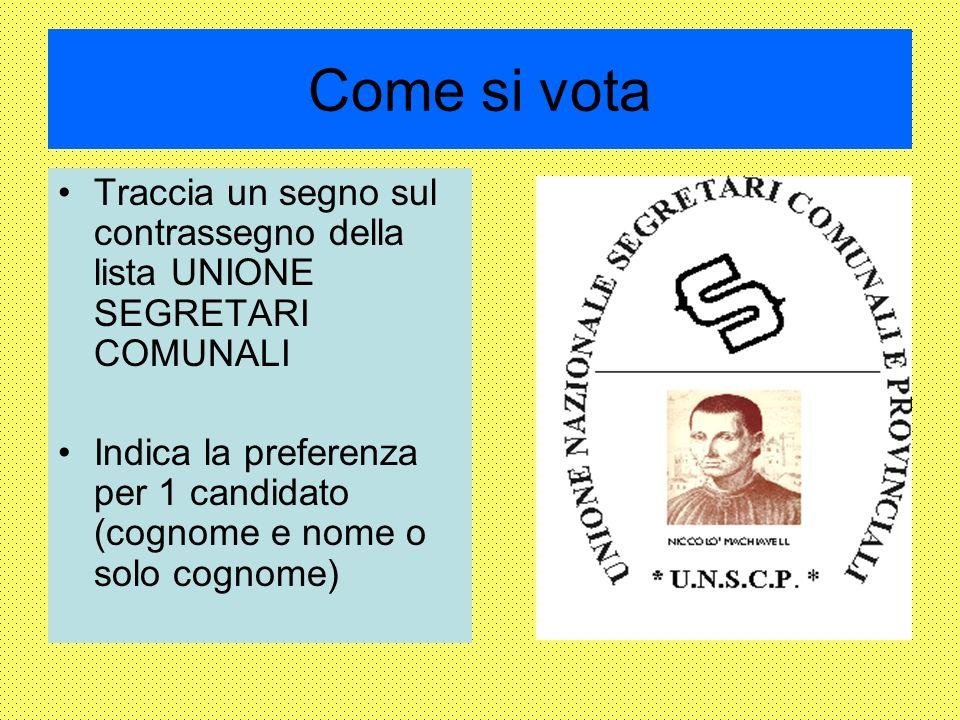 Come si vota Traccia un segno sul contrassegno della lista UNIONE SEGRETARI COMUNALI Indica la preferenza per 1 candidato (cognome e nome o solo cognome)