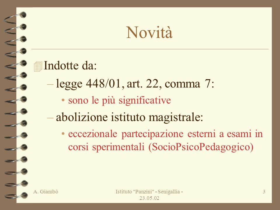 A. GiambòIstituto Panzini - Senigallia - 23.05.02 3 Novità 4 Indotte da: –legge 448/01, art.