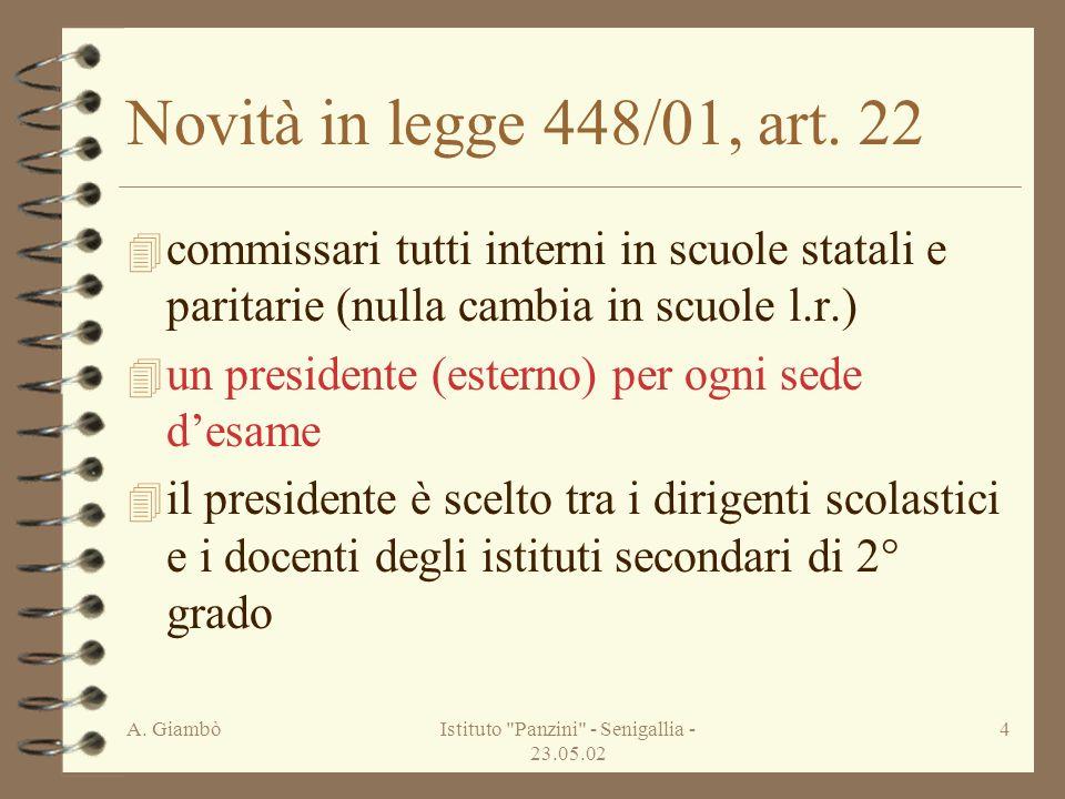 A. GiambòIstituto Panzini - Senigallia - 23.05.02 4 Novità in legge 448/01, art.