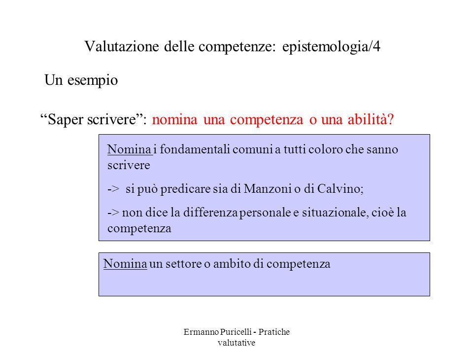 Ermanno Puricelli - Pratiche valutative Un esempio Valutazione delle competenze: epistemologia/4 Saper scrivere: nomina una competenza o una abilità.