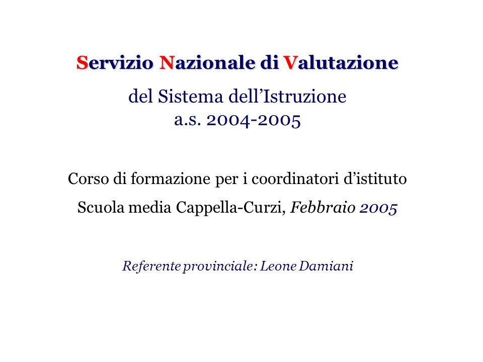 Servizio Nazionale di Valutazione del Sistema dellIstruzione a.s. 2004-2005 Corso di formazione per i coordinatori distituto Scuola media Cappella-Cur