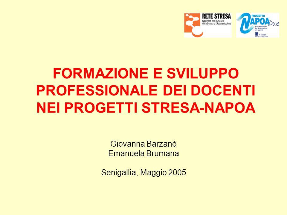 FORMAZIONE E SVILUPPO PROFESSIONALE DEI DOCENTI NEI PROGETTI STRESA-NAPOA Giovanna Barzanò Emanuela Brumana Senigallia, Maggio 2005