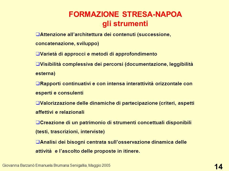 FORMAZIONE STRESA-NAPOA gli strumenti Attenzione allarchitettura dei contenuti (successione, concatenazione, sviluppo) Varietà di approcci e metodi di