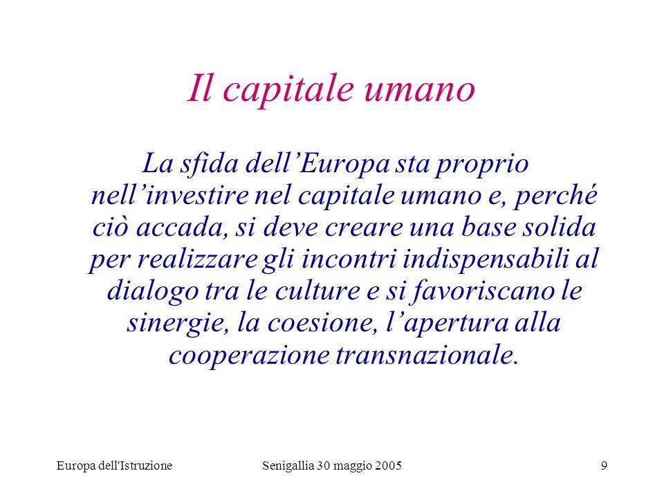 Europa dell IstruzioneSenigallia 30 maggio 200520 Programma Leonardo da Vinci (2000-2006) Progetti approvati nella Regione Marche (Procedure A e B) Tab.
