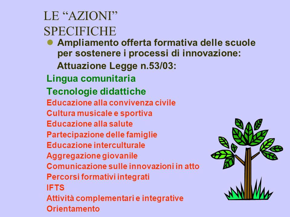 LE AZIONI FONDAMENTALI Supporto alle innovazioni Integrazione scolastica alunni in situazione di handicap Interventi perequativi area istituti profess