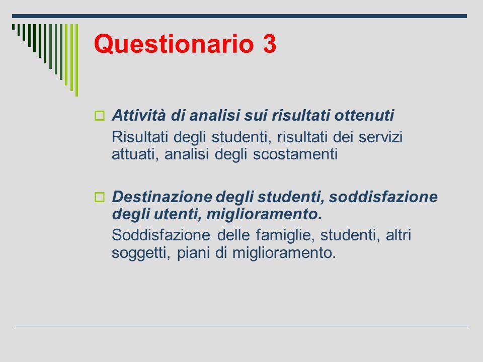 Questionario 3 Attività di analisi sui risultati ottenuti Risultati degli studenti, risultati dei servizi attuati, analisi degli scostamenti Destinazione degli studenti, soddisfazione degli utenti, miglioramento.