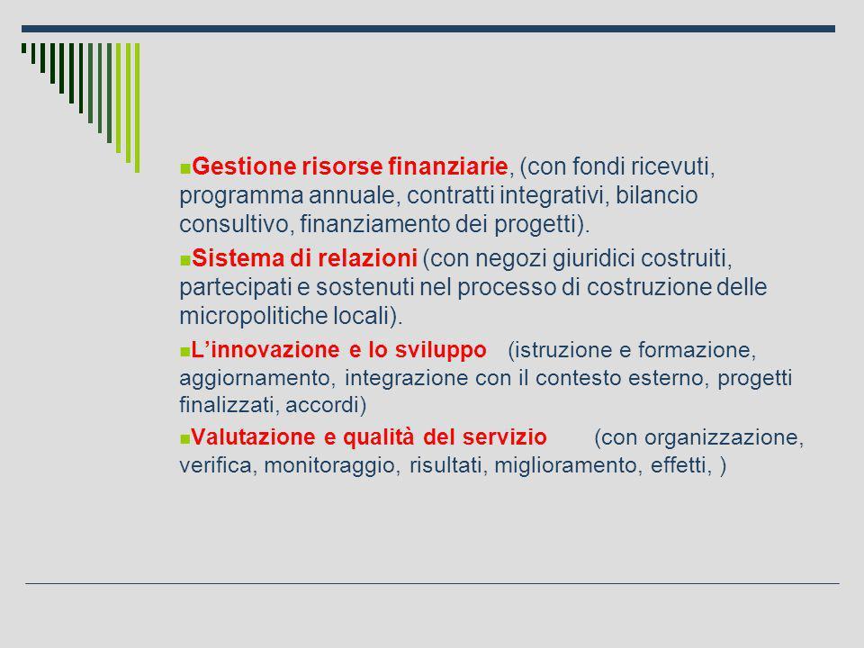 Gestione risorse finanziarie, (con fondi ricevuti, programma annuale, contratti integrativi, bilancio consultivo, finanziamento dei progetti).