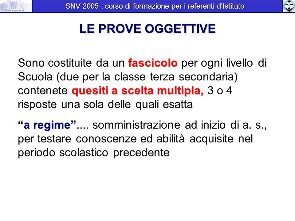 LE PROVE OGGETTIVE fascicolo quesiti a scelta multipla, Sono costituite da un fascicolo per ogni livello di Scuola (due per la classe terza secondaria