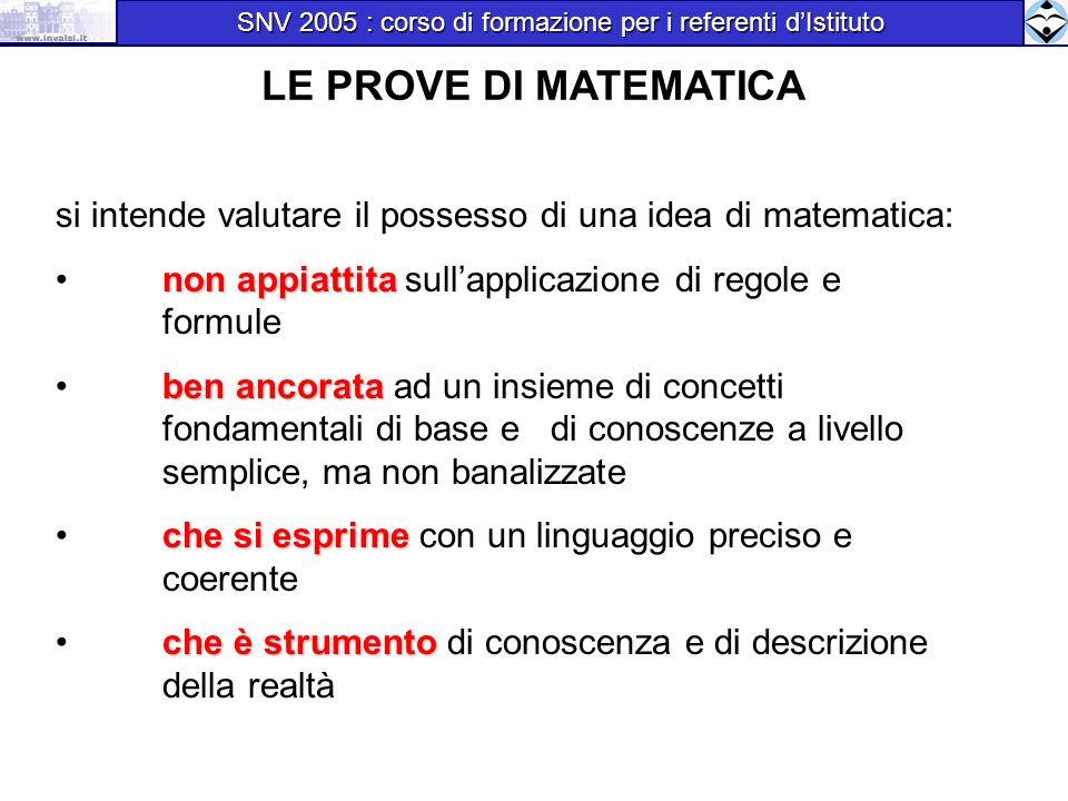 si intende valutare il possesso di una idea di matematica: non appiattita non appiattita sullapplicazione di regole e formule ben ancorata ben ancorat