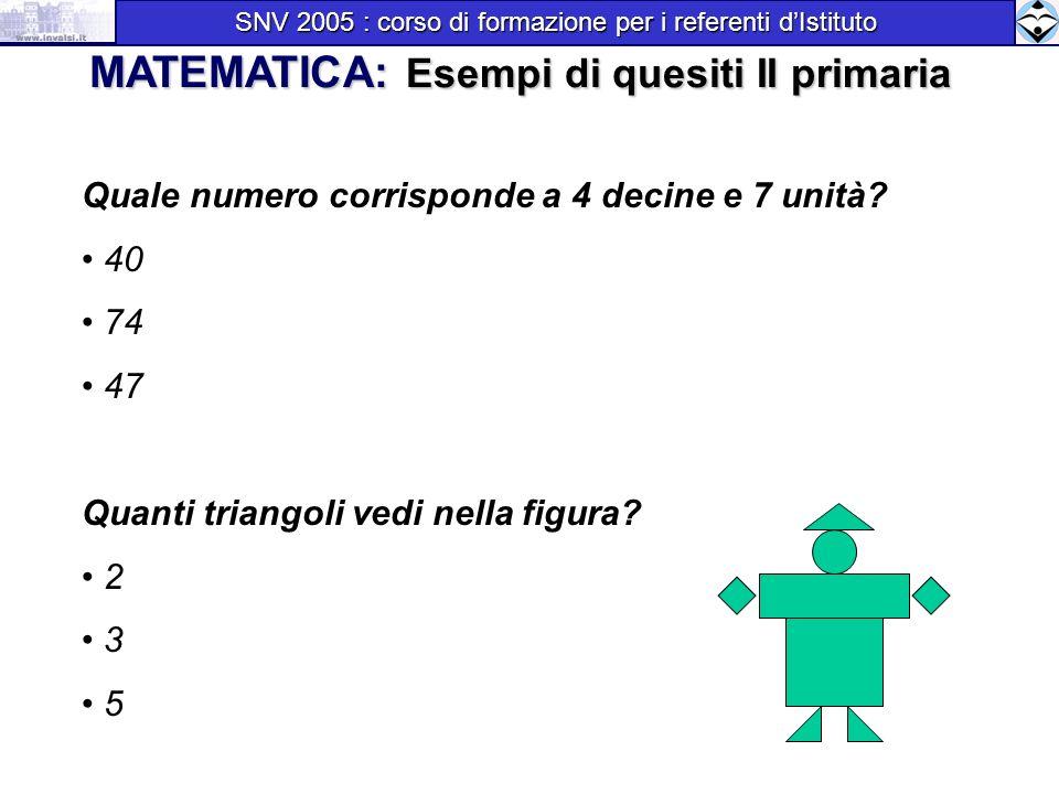 Quale numero corrisponde a 4 decine e 7 unità? 40 74 47 Quanti triangoli vedi nella figura? 2 3 5 MATEMATICA: Esempi di quesiti II primaria SNV 2005 :