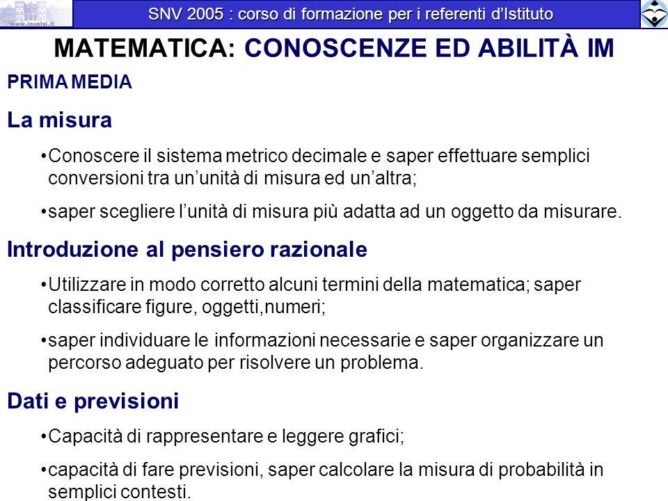MATEMATICA: CONOSCENZE ED ABILITÀ IM PRIMA MEDIA La misura Conoscere il sistema metrico decimale e saper effettuare semplici conversioni tra ununità d