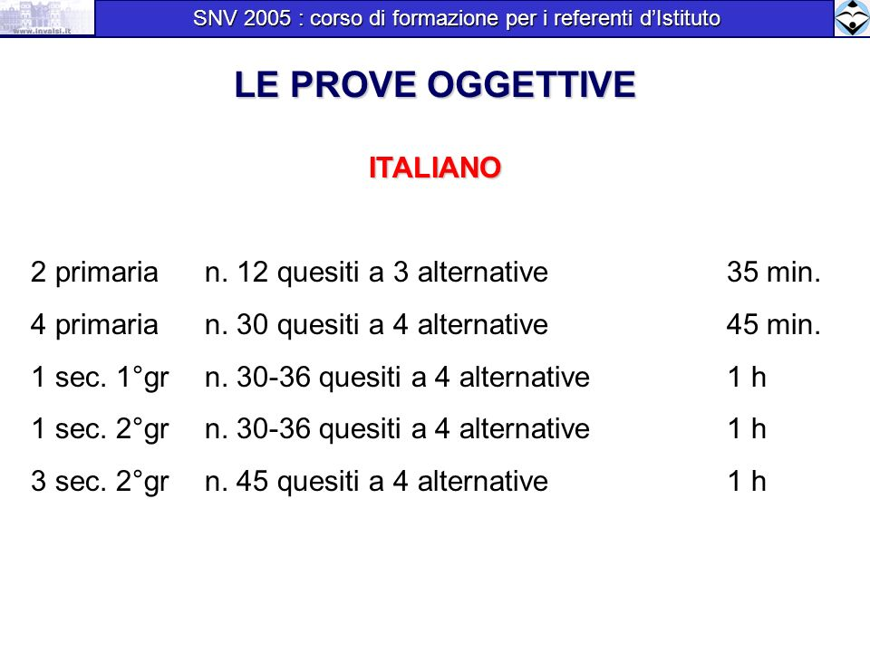 LE PROVE OGGETTIVE ITALIANO 2 primaria n. 12 quesiti a 3 alternative35 min. 4 primaria n. 30 quesiti a 4 alternative 45 min. 1 sec. 1°gr n. 30-36 ques