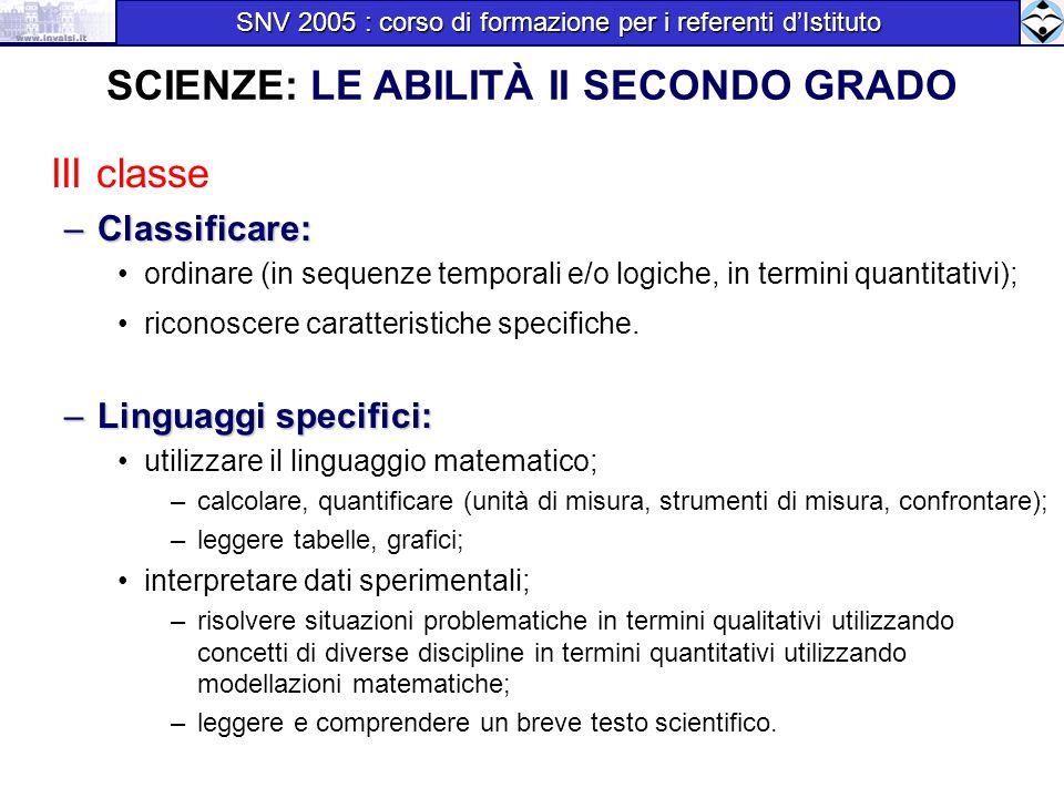 III classe –Classificare: ordinare (in sequenze temporali e/o logiche, in termini quantitativi); riconoscere caratteristiche specifiche. –Linguaggi sp