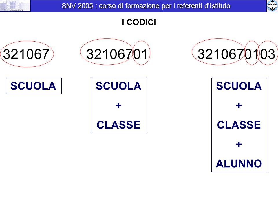 I CODICI 321067321067013210670103 SCUOLA + CLASSE SCUOLA + CLASSE + ALUNNO SNV 2005 : corso di formazione per i referenti dIstituto SNV 2005 : corso di formazione per i referenti dIstituto