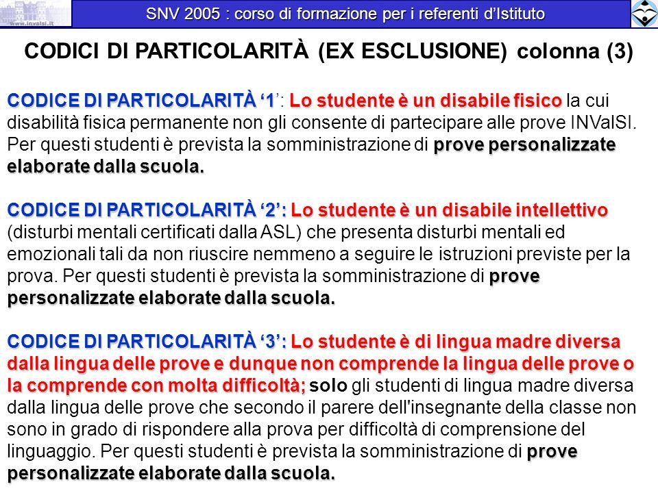CODICI DI PARTICOLARITÀ (EX ESCLUSIONE) colonna (3) CODICE DI PARTICOLARITÀ 1Lo studente è un disabile fisico prove personalizzate elaborate dalla scu