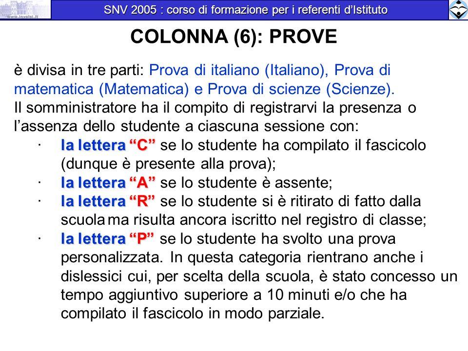COLONNA (6): PROVE è divisa in tre parti: Prova di italiano (Italiano), Prova di matematica (Matematica) e Prova di scienze (Scienze). Il somministrat