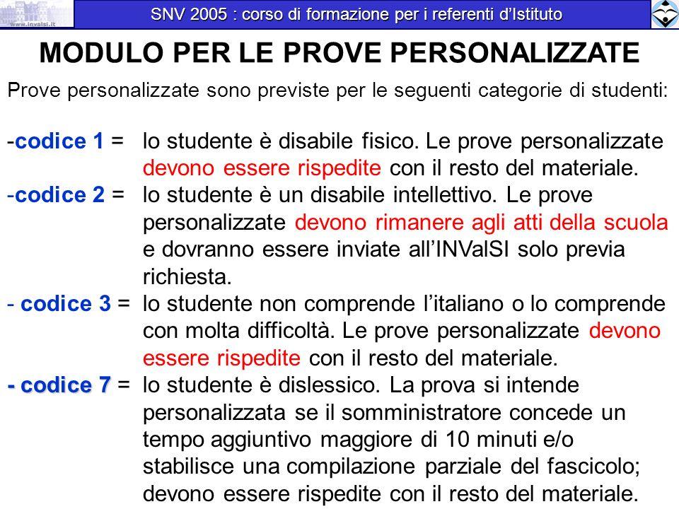 MODULO PER LE PROVE PERSONALIZZATE Prove personalizzate sono previste per le seguenti categorie di studenti: -codice 1 = lo studente è disabile fisico