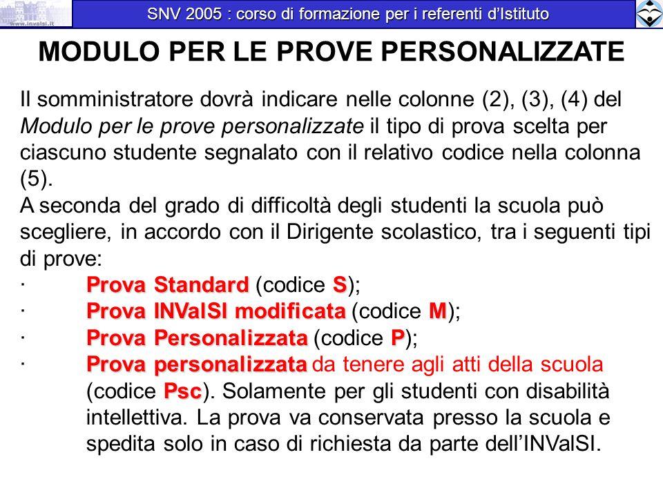 MODULO PER LE PROVE PERSONALIZZATE Il somministratore dovrà indicare nelle colonne (2), (3), (4) del Modulo per le prove personalizzate il tipo di pro