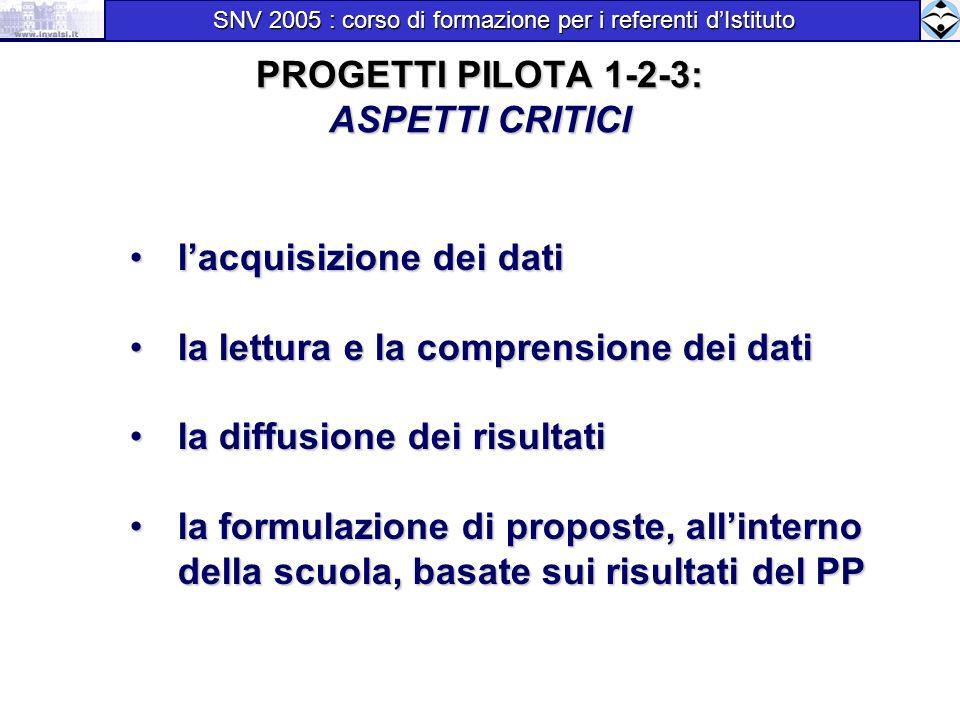 PROGETTI PILOTA 1-2-3: ASPETTI CRITICI lacquisizione dei dati lacquisizione dei dati la lettura e la comprensione dei dati la lettura e la comprension