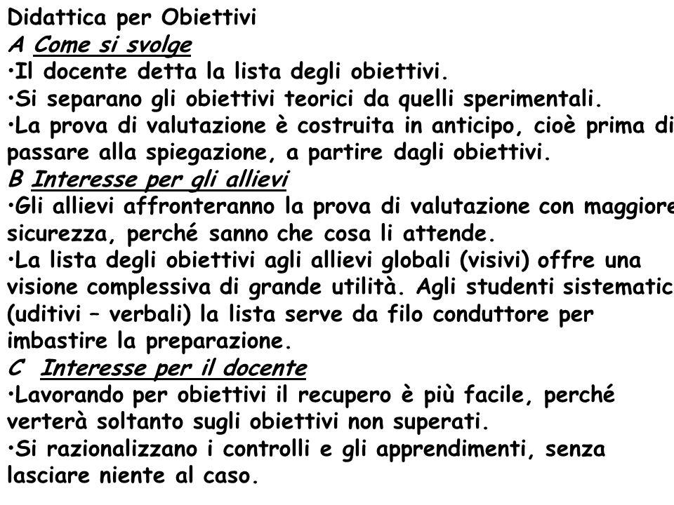 Didattica per Obiettivi A Come si svolge Il docente detta la lista degli obiettivi. Si separano gli obiettivi teorici da quelli sperimentali. La prova