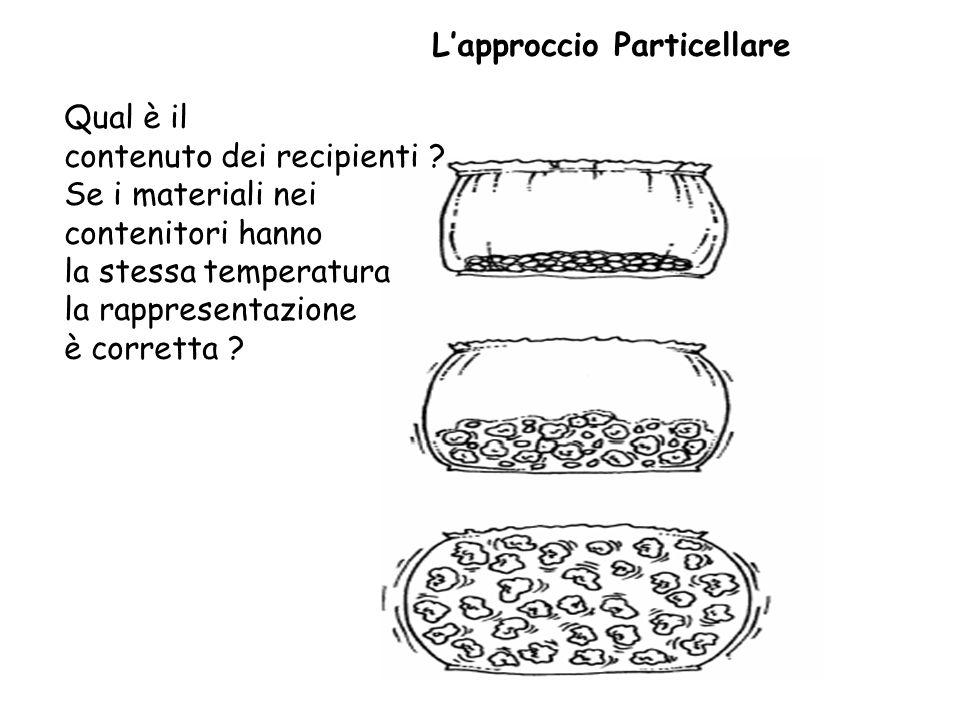Lapproccio Particellare Qual è il contenuto dei recipienti ? Se i materiali nei contenitori hanno la stessa temperatura la rappresentazione è corretta