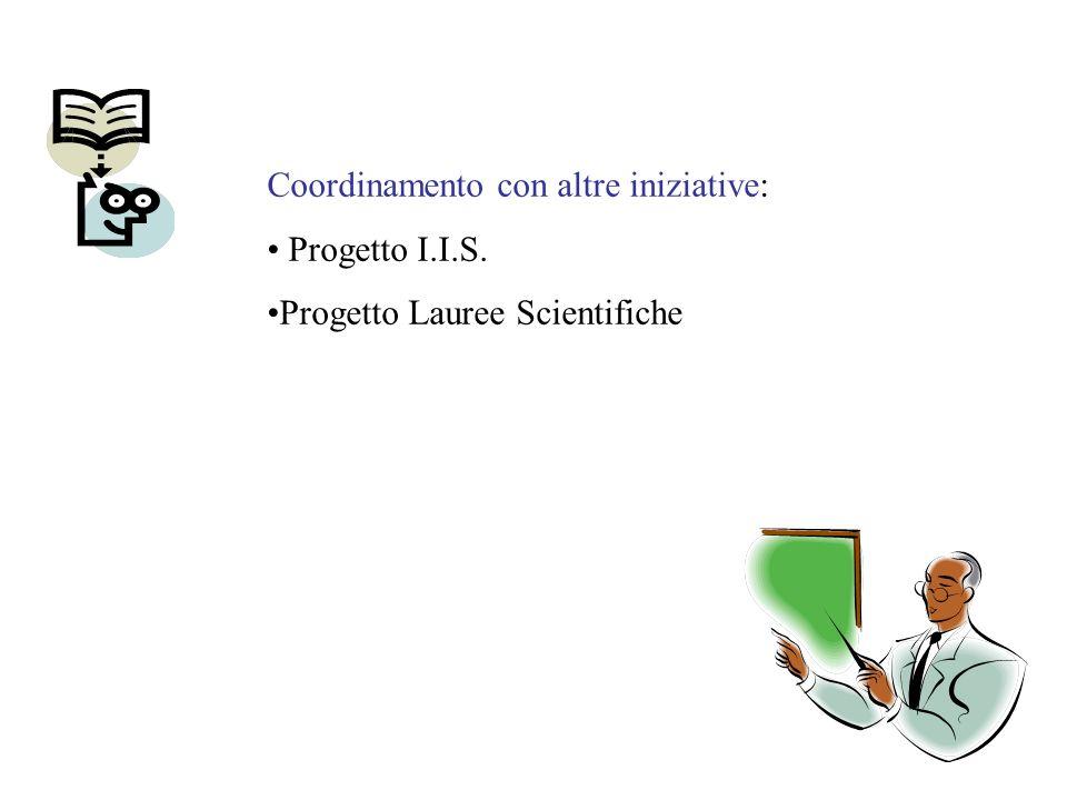 Coordinamento con altre iniziative: Progetto I.I.S. Progetto Lauree Scientifiche