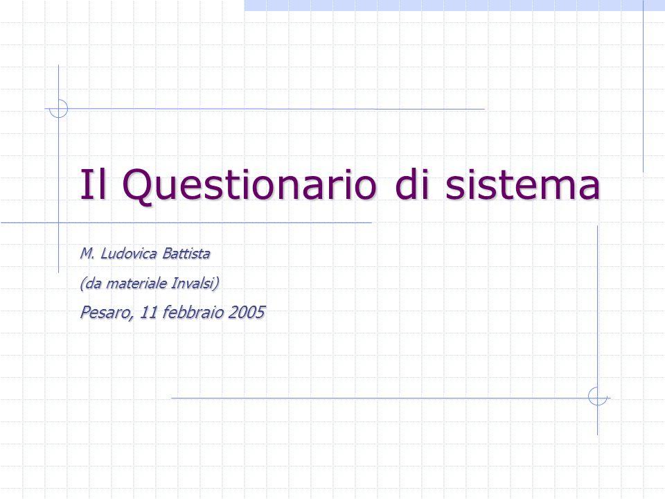 Il Questionario di sistema M. Ludovica Battista (da materiale Invalsi) Pesaro, 11 febbraio 2005