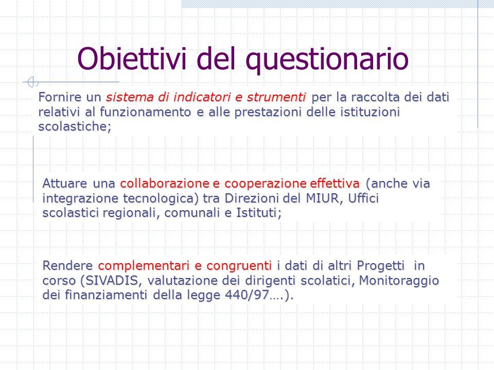 Obiettivi del questionario Fornire un sistema di indicatori e strumenti per la raccolta dei dati relativi al funzionamento e alle prestazioni delle is