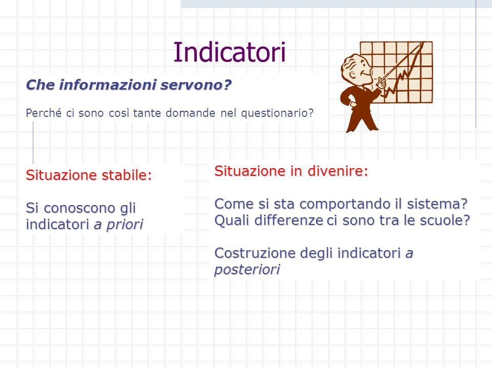 Indicatori Che informazioni servono? Perché ci sono così tante domande nel questionario? Situazione stabile: Si conoscono gli indicatori a priori Situ
