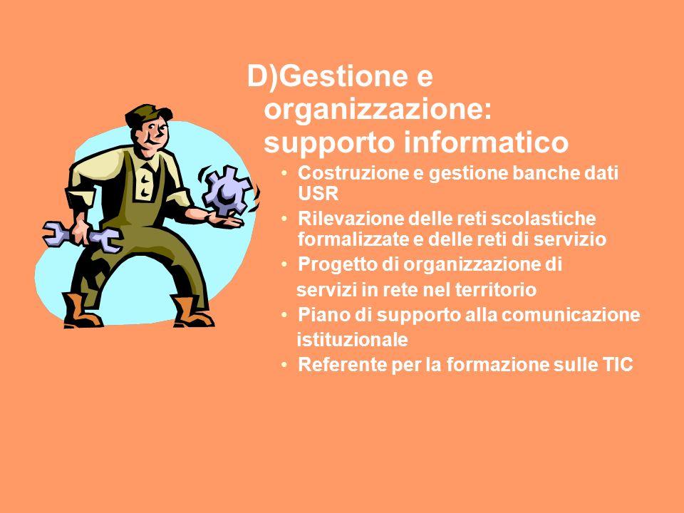D)Gestione e organizzazione: supporto informatico Costruzione e gestione banche dati USR Rilevazione delle reti scolastiche formalizzate e delle reti