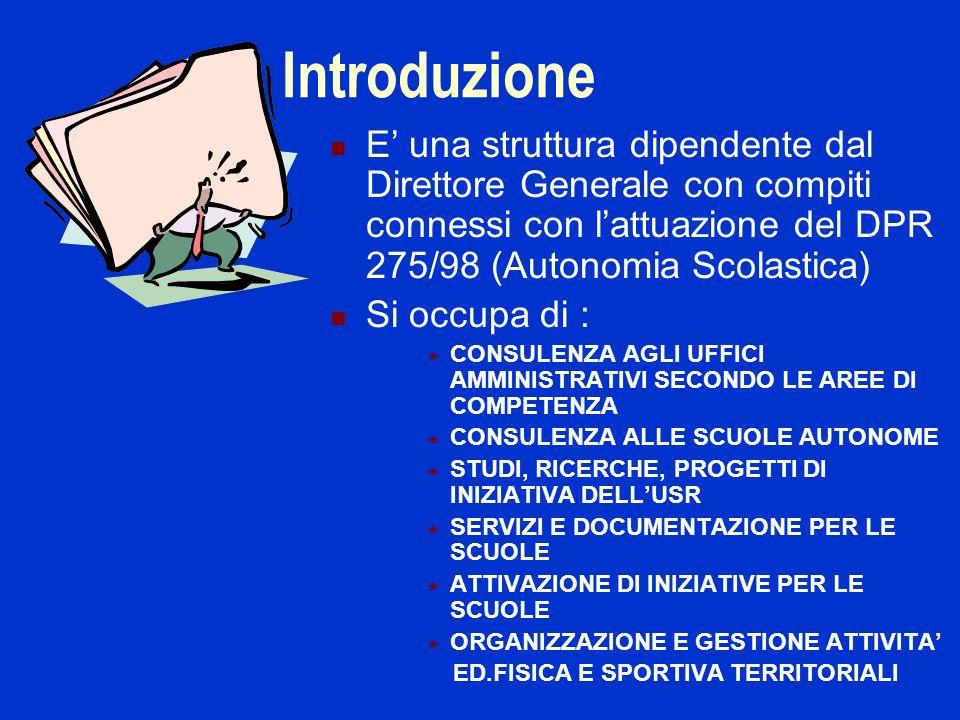 Introduzione E una struttura dipendente dal Direttore Generale con compiti connessi con lattuazione del DPR 275/98 (Autonomia Scolastica) Si occupa di