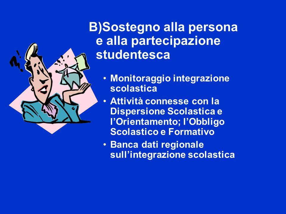 B)Sostegno alla persona e alla partecipazione studentesca Monitoraggio integrazione scolastica Attività connesse con la Dispersione Scolastica e lOrientamento; lObbligo Scolastico e Formativo Banca dati regionale sullintegrazione scolastica