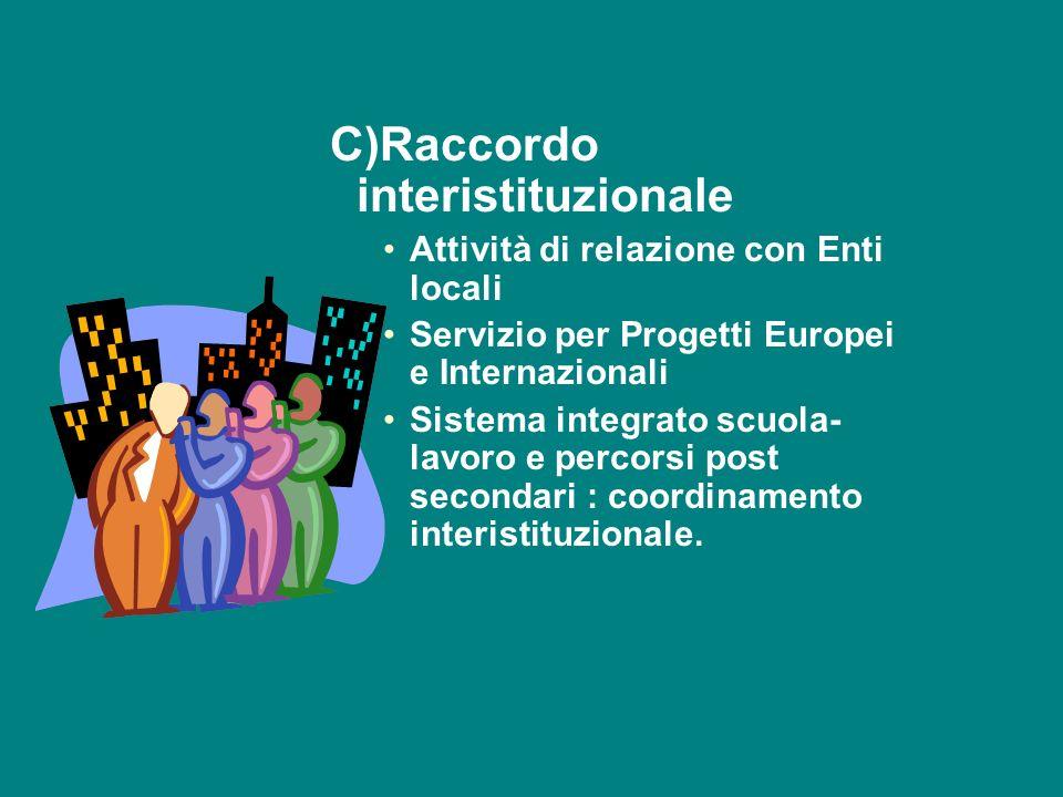 C)Raccordo interistituzionale Attività di relazione con Enti locali Servizio per Progetti Europei e Internazionali Sistema integrato scuola- lavoro e percorsi post secondari : coordinamento interistituzionale.